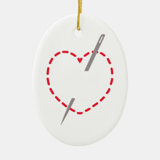 Stitched Heart With Needle Double-Sided Oval Ceramic Christmas Ornament