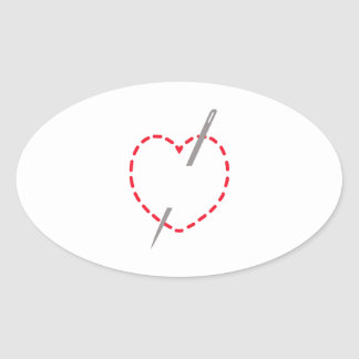 Stitched Heart With Needle Oval Sticker