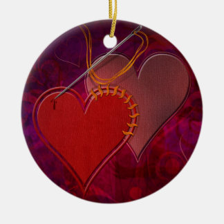 Stitched Hearts Ornament