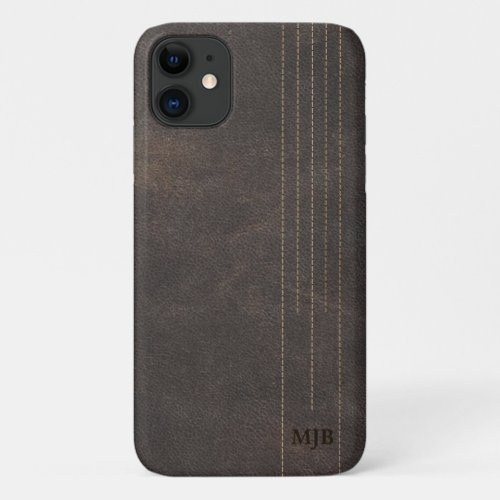 Stitched Leather Monogrammed Men's Case-Mate iPhon Phone Case