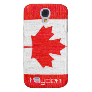 Stitched Look Canadian Flag - Add your initials Galaxy S4 Case