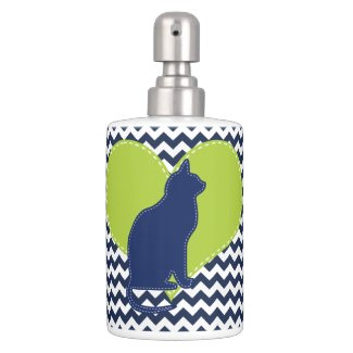 Stitched Look Lime Heart, Navy Cat Bathroom Set
