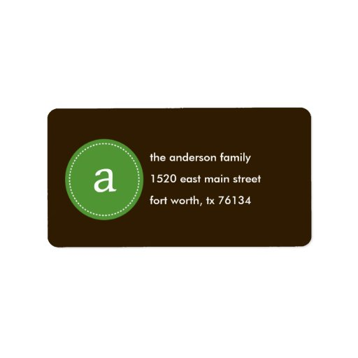 Stitched Monogram Address Label Personalized Address Label