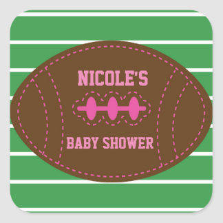 Stitched PINK Football Baby Shower Party Sticker