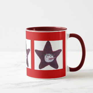 Stitched Snowman Star Mug