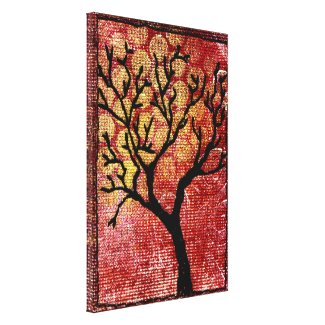 Stitched Tree on Painted Canvas - Red