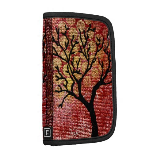 Stitched Tree on Painted Canvas - Red Folio Planners