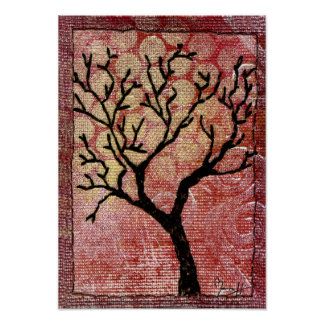 Stitched Tree on Painted Canvas - Red Poster