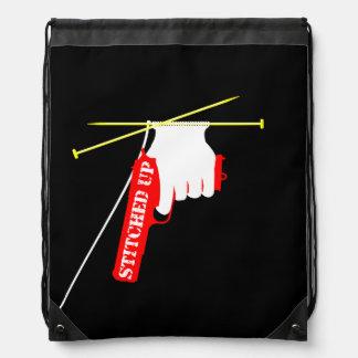 Stitched Up Knitting Pistol Drawstring Bag