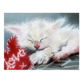 Stitched with Love white kitten heart Postcard