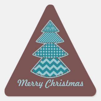 Stitchery Christmas Tree maroon teal aqua triangle Triangle Sticker