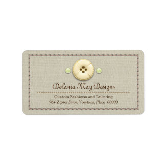 Stitching and Buttons Tailoring Seamstress Address Label