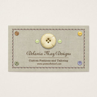 Stitching and Buttons Tailoring Seamstress Business Card