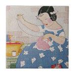 Stitching Girl Ceramic Tiles