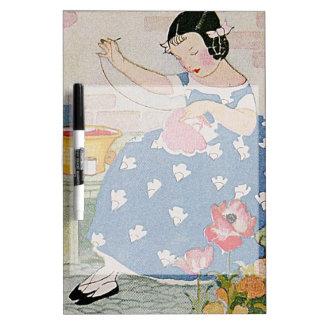 Stitching Girl Dry Erase Board