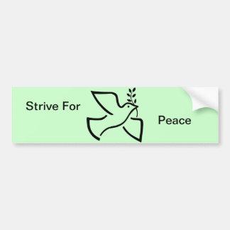 Stive For Peace Dove Olive Branch Symbol Bumper Sticker