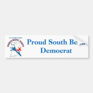StJoeCountyDemslogo, Proud South Bend Democrat Bumper Sticker