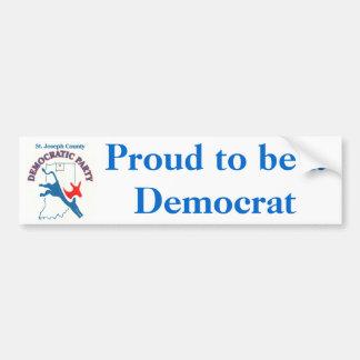 StJoeCountyDemslogo, Proud to be a Democrat Bumper Sticker