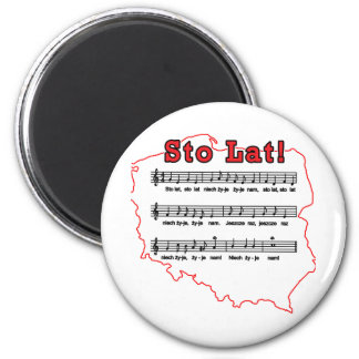 Sto Lat! Song Polish Map 2 Inch Round Magnet