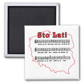 Sto Lat! Song Polish Map 2 Inch Square Magnet