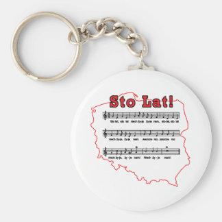 Sto Lat! Song Polish Map Basic Round Button Keychain
