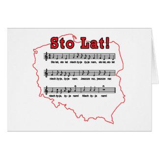 Sto Lat! Song Polish Map Greeting Card