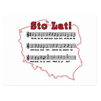Sto Lat! Song Polish Map Postcard