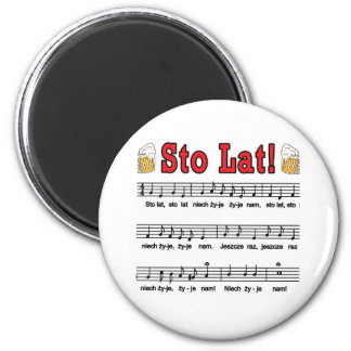 Sto Lat! Song With Beer Mugs 2 Inch Round Magnet
