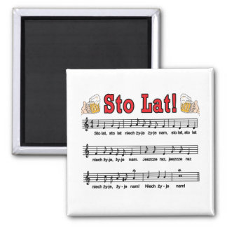 Sto Lat! Song With Beer Mugs 2 Inch Square Magnet