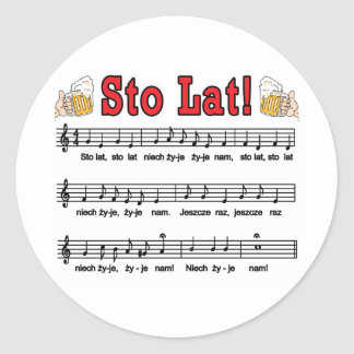 Sto Lat! Song With Beer Mugs Classic Round Sticker