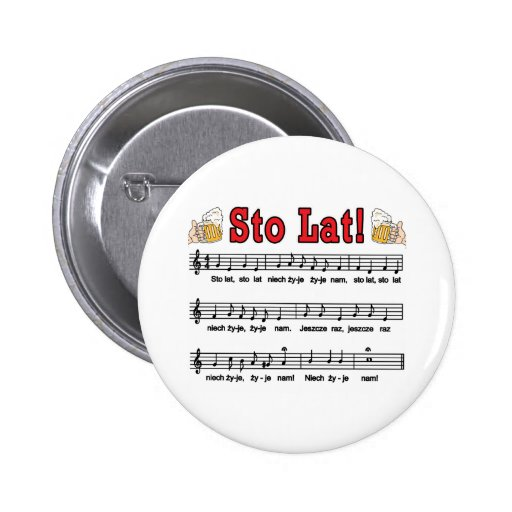 Sto Lat! Song With Beer Mugs Pinback Button