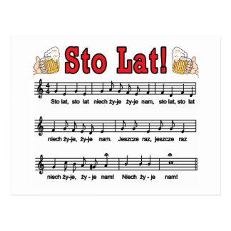 Sto Lat! Song With Beer Mugs Postcard