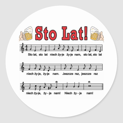 Sto Lat! Song With Beer Mugs Round Sticker