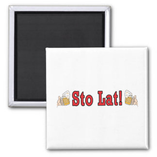 Sto Lat! With Beer Mugs 2 Inch Square Magnet