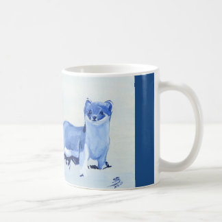Stoat mug in shades of blue