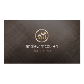 Stock Broker Share Chart Icon Gold Brushed Metal Business Card