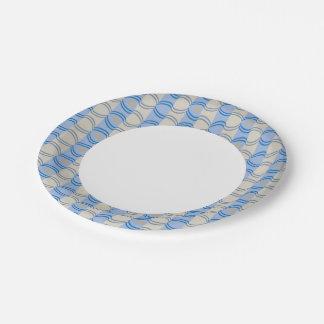 Stock Candystripe Blue Tan Paper Plate