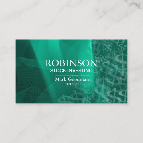 Stock Invest Business Card Green Teal Dollar Signs