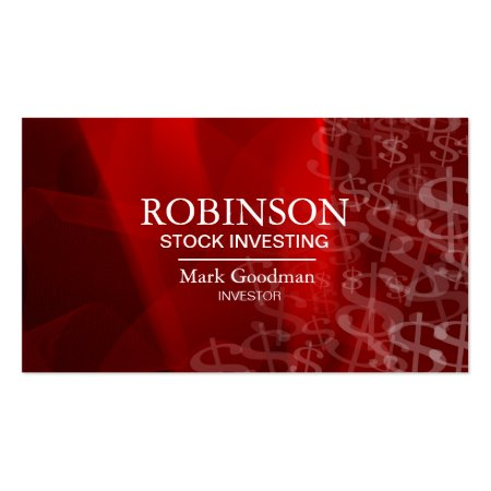 Stock Invest Business Card Red White Dollar Signs Profilecards
