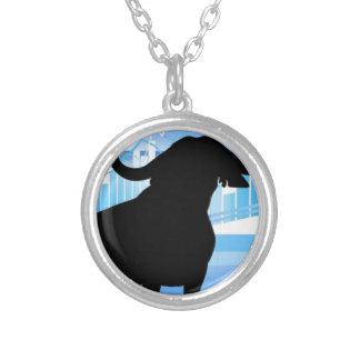 Stock Market Bull Round Pendant Necklace