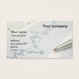 """Stock market graph and pen"" business card"