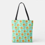 Stock market tote printed with flowers of girasol