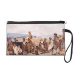 Stock market with rustic subjects wristlet