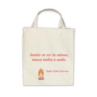 Stock market with self-esteem phrase tote bags