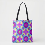 Stock market with sends them and flowers in tote bag