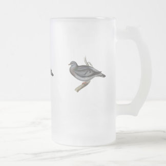 Stock Pigeon or Stock Dove Frosted Glass Beer Mug