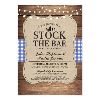 Stock The Bar Blue Rustic Navy Party Invitation
