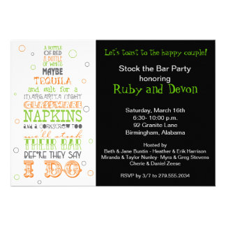 Stock the Bar Bottle Rhyme Party Invitation