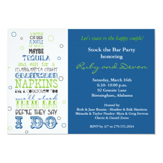 Stock the Bar Bottle Rhyme Party Invitation- Navy Card
