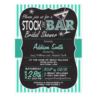Stock the Bar Bridal Shower; Aqua Invitation Postcard